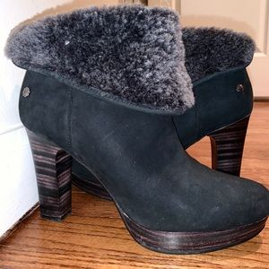 UGG Black Fur Ankle Booties